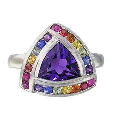 Multicolor Rainbow Sapphire & Amethyst Trillion Cluster Ring