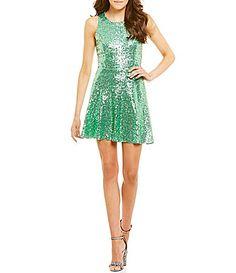 35b8fe2d1bdb Midnight Doll Sleeveless Sequin Skater Dress  Dillards Junior Dresses