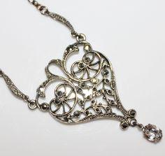 Art Deco Sterling Silver Filigree Fancy Marcasite Crystal Dangle Necklace