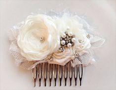 Vintage ivory flower comb with jewels by JensBowdaciousBows