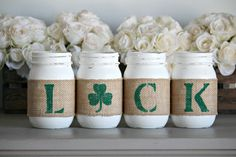 Rustic St.Patrick's Day Home Decor, Irish Shamrock Table Centerpieces