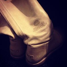 Long taupe Shabbies Amsterdam boots, picture by @jannekemaes