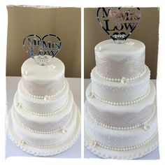 Classic white wedding cake with edible lace and crystal mirror topper by Corr's Cakes