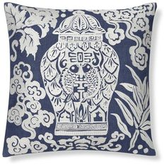 Ginger Jar Embroidered Pillow Cover, Blue   Williams-Sonoma