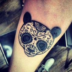 And so now I'm looking at panda tattoos and ahhhhh! Sugar skulls and pandas? Future Tattoos, New Tattoos, Hand Tattoos, Cool Tattoos, Tatoos, Upper Arm Tattoos, Forearm Tattoos, Piercings, Piercing Tattoo