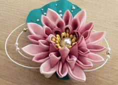 Water lily kanzashi decorative hair floral accessory pink $67.07