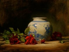 """This one is really terrific! Artist Elizabeth Robbins - """"Red Roses with Oriental Vase"""" x Oil Still Life Artists, Still Life Images, Blue And White Vase, Magnolia Flower, Artist Life, Love Art, Watercolor Flowers, Art Day, Art Projects"""