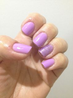 My lilac longing shellac manicure with glitters.