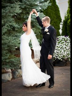 Fun photo, young married couple, lace dress
