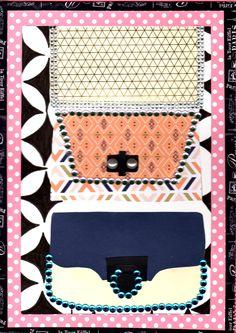 illustration papier A4 collage et feutre pour le fond , titre mini sac a main
