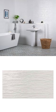A fabulous twist on the classic white, gloss wall tile. These Cheviot Tiles are a brilliant white gloss with a linear surface that plays with the light White Bathroom Tiles, White Tiles, Bathroom Wall, Wall And Floor Tiles, Wall Tiles, Chalk Texture, Wall Finishes, Wall Spaces, Interior Decorating