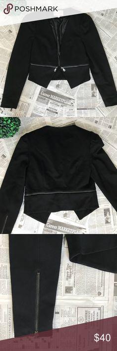 Philosophy Black Blazer Like new black blazer with a detail zipper all around the waist and asymmetrical front. Very good quality fabric.  70% Rayon,25% Nylon, 5% Spandex Philosophy Jackets & Coats Blazers