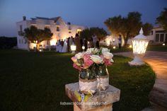 Burlap wedding mason jar centerpiece.  by Michela & Michela www.italianweddingcompany.com