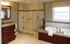 I like the shower door configuration and the size of the shower.  I also like the countertop tub deck.