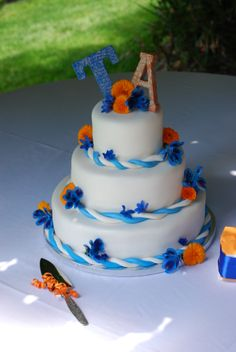 Blue And Orange Wedding Centerpieces