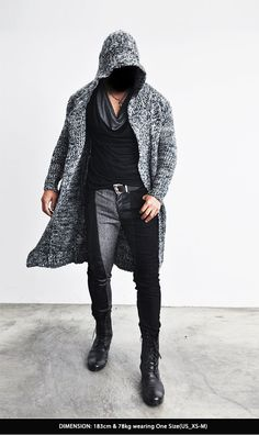 Outerwear :: Cardigans :: Re)Edge Long Hood Chunky Knit Cape Coat-Coat 59 - Mens Fashion Clothing For An Attractive Guy Look
