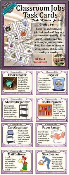 Great for the beginning of the year, these classroom jobs task cards can be used in a bulletin board, jobs chart, or deck pockets. Rotate them weekly for variety and motivation. Each card is numbered and comes with a job title, graphic, and fun rhyming description.  Simply choose the cards for your particular class and situation, print on cardstock, and laminate. Cut on the cutting guidelines printed on the sheets and you're set to go. $