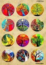 (12ks / Lot) Glass Cabochon 25 mm Mix Kawaii dievča, ktoré sa chce Tree / Flowers Image koleso odrazky XL8691 (Čína (pevninská časť))