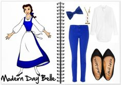 modern belle - blue pants, white top, black shoes & hair accessory
