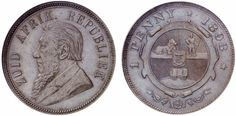 AE Penny. South Africa Coins. 1893. KM 6. R! Graded MS64BN. Price realized 2011: 4.500 USD. African Animals, Rare Coins, My Land, Afrikaans, Wwii, South Africa, Stamps, Birds, History