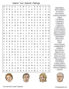 free spanish feelings worksheet printable emotions puzzle word search words vocabulary fun stuff for kids foreign language Spanish Grammar, Spanish Vocabulary, Spanish Words, Spanish Teacher, How To Speak Spanish, Teaching Spanish, Spanish Language, Foreign Language, Learn Spanish