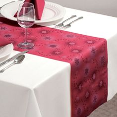Burgundy Linen Like Snowflake Table Runners