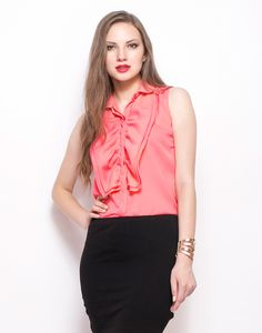 Ruffled Up Shirt - Coral : Absolutely awesome coral georgette shirt featuring a double ruffle detail in the front and a concealed placket. Sleeveless and regular fit.  Work It - Looks office ready with your classic pencil skirt and single sole pumps.