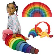 A friend sells these Grimms wooden toys on Amazon and they're just awesome, we have this rainbow, my kids play with it constantly. They're so creative with it, I'm always amazed with what they come up with.