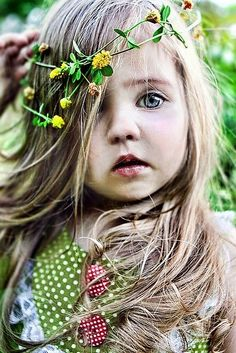Baby flower child... photography hair eyes blonde outdoors nature flowers kids baby hippie polka dots