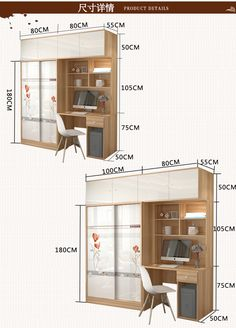Desktop computer desk wardrobe one-piece desk bookcase combination with sliding door wardrobe children's learning desk bookcase one cabinet Study Room Design, Bedroom Closet Design, Small Room Design, Bedroom Furniture Design, Home Room Design, Pallet Furniture, Built In Wardrobe Ideas Sliding Doors, Bedroom Built In Wardrobe, Modern Wardrobe