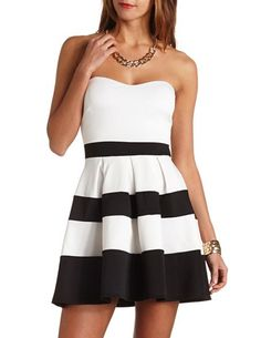 Striped Sweetheart Strapless Skater Dress: Charlotte Russe