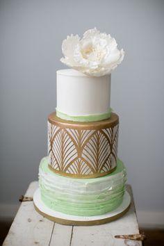 Ombre ruffles and gold detailing: http://www.stylemepretty.com/pennsylvania-weddings/philadelphia/2015/03/06/3-tips-for-a-better-cake-tasting/ | Photography: Peach Plum Pear - http://peachplumpearphoto.com/