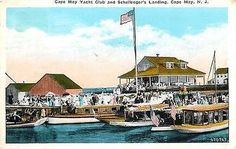 Cape May New Jersey NJ 1920s Cape May Yacht Club Schellenger's Landing Postcard