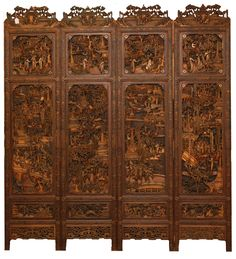 Antique Chinese hand relief carved 4 panel wooden screen. Each piece masterfully relief carved throughout to depict 12 busy village scenes. Intricate raised border designs throughout. Tops of each panel has relief carved temple courtyard scene with sage and attendant. 19th century.
