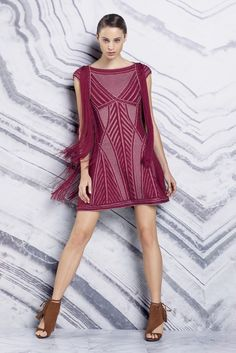 Candy Wine Fringed Dress - Hervé Léger by Max Azria Resort 2016 - Collection - Gallery - Style.com