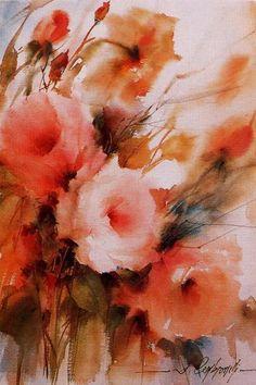 watercolor flowers-example of wet-on-wet watercolors