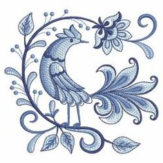 Blue and White Birds 2 02 machine embroidery designs