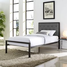 Modway Mia Twin Fabric Bed Frame
