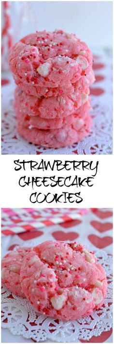 Cookies - Easy Strawberry Cheesecake Cookies are an easy recipe since they begin with a cake mix! Just right for Valenines Day!Strawberry Cheesecake Cookies are an easy recipe since they begin with a cake mix! Just right for Valenines Day! Cake Mix Cookie Recipes, Cookie Desserts, Yummy Cookies, Easy Desserts, Delicious Desserts, Dessert Recipes, Pink Desserts, Cake Mixes, Easy Snacks