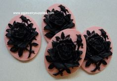 Hey, I found this really awesome Etsy listing at https://www.etsy.com/listing/168844312/25x18-resin-cameos-black-rose-and-bud-on