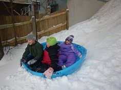 Plastic Pools as a Group Sled!