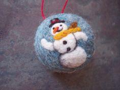 Snowman Ornament OOAK Needle Felted by aronlowe on Etsy