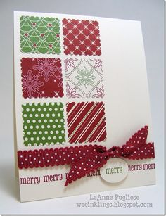 Easy Christmas card with the Be of Good Cheer DP, Postage stamp punch, matching ribbon and a sentiment.
