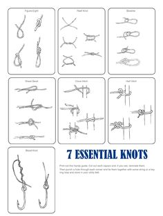 The 7 Essential Knots to Know. From Whipup here. She has a great PDF free download of all the knots where you can actually see what goes where. I was taught some of these by my father, but have...