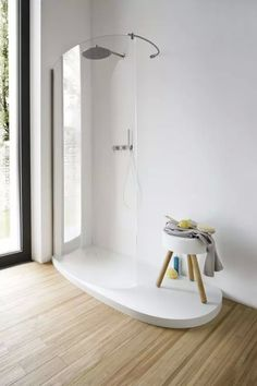 White Theme Room Decoration Douche Design, Dupont Corian, Shower Panels,  Bathroom Interior Design