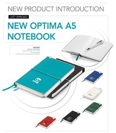 New-Optima-A5-notebook-Just-Unpacked  We're excited to introduce our new Optima A5 Notebook in 6 colours.  It's classy with a metal rim and presented in a sleeve that you can brand too.  We recommend debossing or screenprinting the notebook.  NB-9501 - Optima A5 Notebook  R89.99 excl VAT    For unbranded items please click the link below: