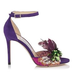 ANNIE 100. Annie 100 Peep Toe Sandals in Iris Suede and Jazzberry Mix Feather Embroidery. Discover our Spring Summer 17 Collection and shop the latest trend today.