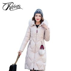 37.88$  Buy here - Unifens Winter Jacket Women New 2017 Solid Slim Fur Collar Coats Womens Pockets Spliced Hooded Down Cotton Wadded Coats LI14   #magazineonlinewebsite