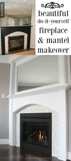 Adding visual interest and height to your fireplace pinterest beautiful marble hexagon tile plus using wood filler to fill in the grooves to make the mantel more modern and the diy pvc mantel pillars are solutioingenieria Choice Image