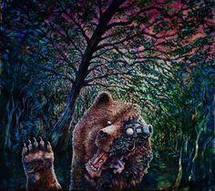 Karhu Artist: Ilkka Luttinen, Painting, oil on canvas, 161 x 140 cm. Online Art Gallery, Oil On Canvas, Horror, Artwork, Artist, Painting, Animals, Work Of Art, Animales